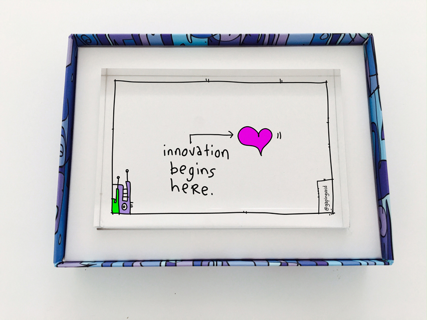 Innovation Begins Here - Acrylic Awards - gapingvoid art